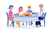 Family of parents and teenage children having lunch cartoon vector illustration.