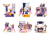 Young couple spend time at home. Spending time together. Family home leisure in quarantine. People doing sports, cooking, watching movies, doing housework, taking care of the plants. Flat illustration
