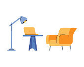 Office or home workplace furniture with lamp flat vector illustration isolated.