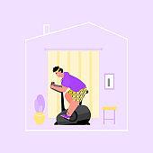 Healthy active man doing treadmill training at home cartoon vector illustration.