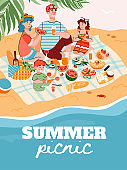 Summer family picnic banner or poster template flat vector illustration.