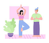 Couple doing yoga poses and exercises at home a vector flat illustration