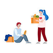 Female volunteer donate food to homeless poor man a vector illustration.