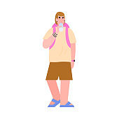 Person with backpack drinks clean potable water from bottle a vector illustration
