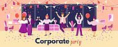 Vector banner of a fun corporate party in the office.