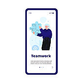 Person holding puzzle piece - business teamwork concept for mobile app