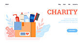 Design web for charity and donation with box full cleaning and hygiene products.