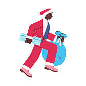 Vector isolated illustration of running man with new year and Christmas gifts