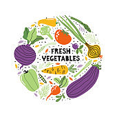Hand drawn colorful doodle vegetables and greens. Tomato, cucumber, onion, pepper, radish, eggplant, carrot, beetroot. Vegetarian healthy food. Fresh vegetables lettering for banner. Handwritten text