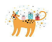 Party leopard hand drawn Scandinavian style. Happy birthday greeting card or banner. Wild cat in a festive hat with gifts. Funny cartoon character of animal. Jungle party. Flat vector illustration