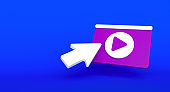 Web page social media concept. Video play icon illustration on background. 3D rendering
