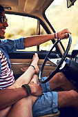 She can relax when he's behind the wheel