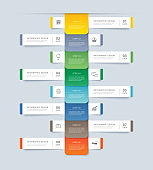 8 data step infographics timeline tab paper index template. Vector illustration abstract background. Can be used for workflow layout, banner, web design.
