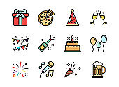 Party icon set colorline style. Symbols for website, print, magazine, app and design.
