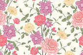Beautiful blooming garden flowers roses and clematis. Color seamless pattern.