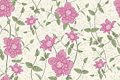 Floral seamless pattern. Beautiful blooming garden flowers clematis.