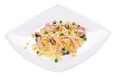 Pasta farfalle with ham and mushrooms is like an haute cuisine.