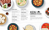Chinese food menu restaurant on a white wooden table top template background. Use for poster, print, flyer, brochure.