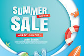 Summer sale with decoration origami on blue wave background. Paper art and craft style.