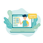 Vector illustration in trendy flat style. Online education conference icon concept. Laptop with a male teacher on the screen of the computer