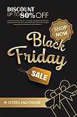 Black friday sale ads banner gold and black color background template. Use for cover, card, flyer, coupon, voucher, poster and all media.
