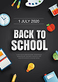 Back to school poster with education items on black background in paper art style.