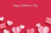 Happy valentines day greeting cards with paper hearts on red pastel background.