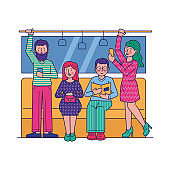 Passengers travelling by subway flat vector illustration