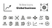 Global business line icon set