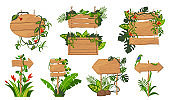 Jungle wooden boards flat icon set