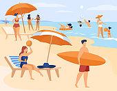 People resting on sea beach in summer
