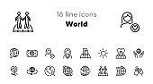 World line icon set