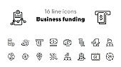 Business funding line icon set