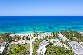 Aerial view from drone on caribbean beach of Atlantic ocean, travel destination