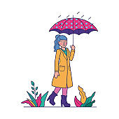 Girl under umbrella walking in rain flat vector illustration