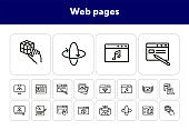 Web pages line icon set