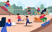 Active children on city playground