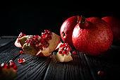 Pomegranate on dark background