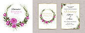 modern set of wreaths, vertical banners. realistic flowers, with Golden lines. fashionable peonies, luxury glitter with gold decoration. hand-drawn doodles for postcards, wedding invitations,  holidays.