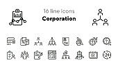 Corporation line icon set