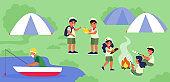 Scouts camp at lake shore