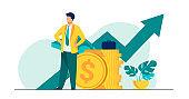 Successful entrepreneur or investor presenting stack of money