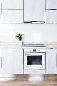 Light modern kitchen interior in minimalism