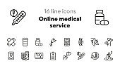 Online medical service line icon set