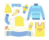 Knitted seasonal woolen clothes set