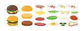 Cartoon burger ingredients flat icon collection