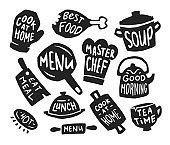 Restaurant and bistro flat icon set