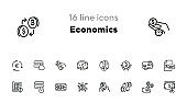 Economics line icon set