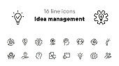 Idea management line icon set