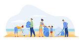 Eco volunteers cleaning sea
